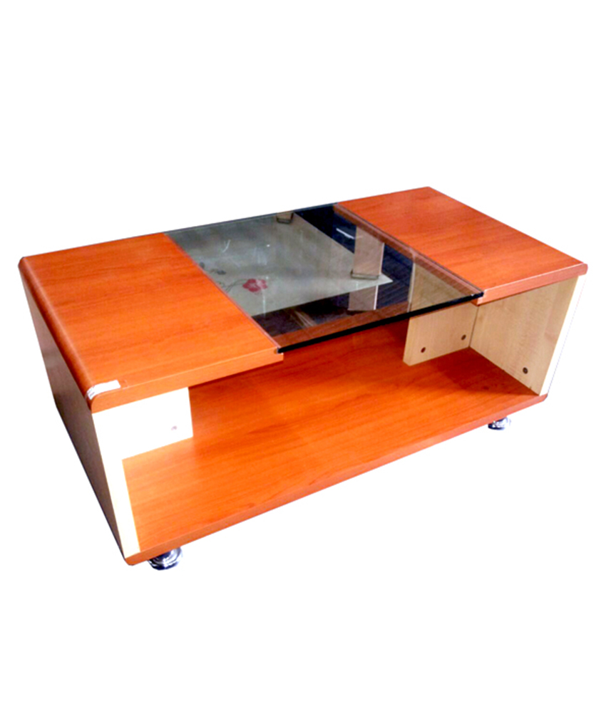HALF GLASS CENTER TABLE WITH SINGLE DRAWER AND REVOLVING WHEELS