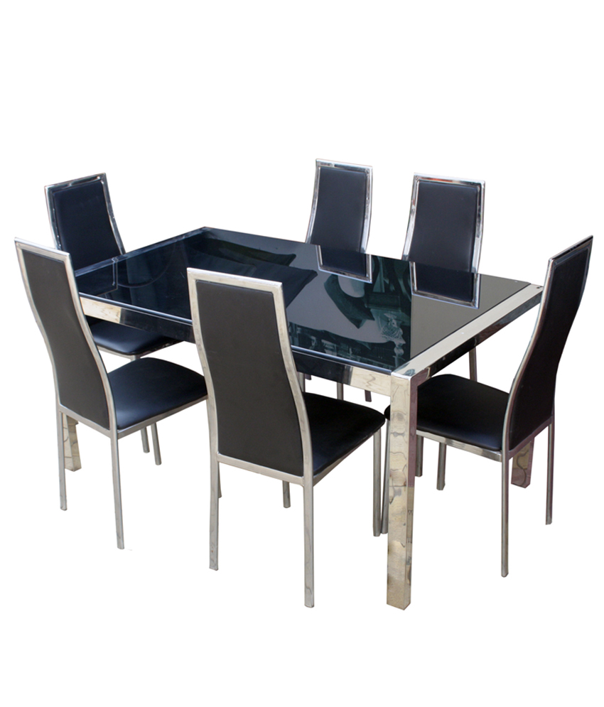 GLASS TOP WITH S S FRAME DINING TABLE | DS Furnishers